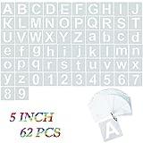 Canvall - 62 plantillas de letras del alfabeto y plantillas de números de 12.7 cm, para pintar, decoración del hogar, proyectos de arte escolar, reutilizables en madera, pared, tela, pizarra, vidrio