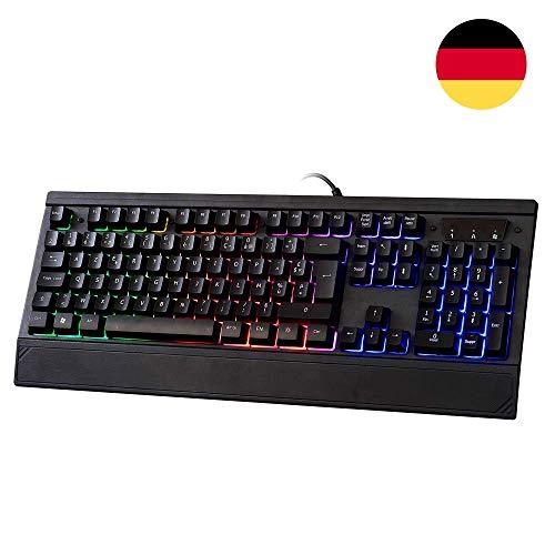 LYCANDER Gaming Keyboard Germany, Wired Keyboard - 19 anti-ghosting keys, 1.8m cable, rainbow backlight - LKB8154DE