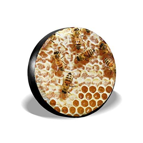 LYMT Bienen Honig Honig Bienen Waben Kämme Bienenstock hinten Reifenabdeckung Auto Reifenschutz Reifenabdeckung Fit für Trailer Rv SUV und viele Fahrzeuge 14-17inch
