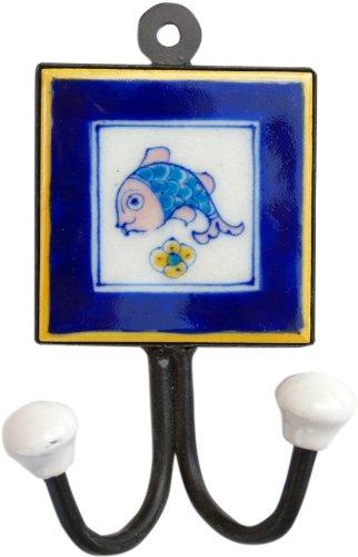 Guru-Shop Dubbele Wandhaak, Mantelhaak met Handgemaakte Keramische Tegel - Model 10, Blauw, 15x10x5,5 cm, Wandhaken van Hout, Metaal Keramiek