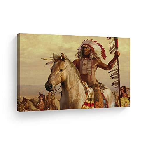 SmileArtDesign Indian Wall Art Native American Riding a White Horse Canvas Print Home Decor Decorative Artwork Living Room Bedroom Office Wall Decor Ready to Hang Made in USA - 8x12
