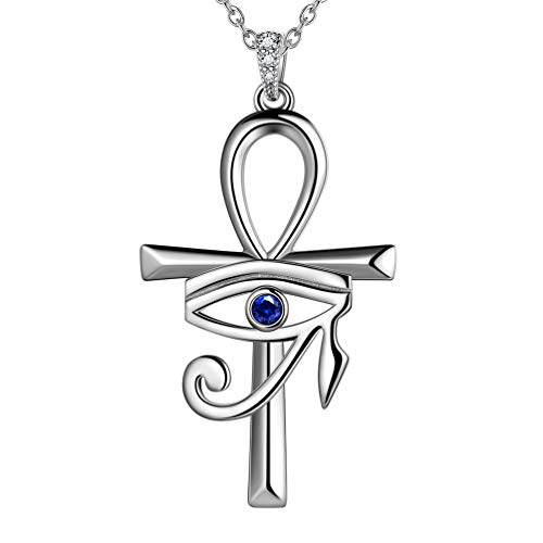 Ankh Cross Eye of Horus Necklace Mens Women Protection Symbol Pendant Necklace 925 Sterling Silver Horus Eye of Ra Necklace Ankh Cross Necklace Talisman Jewelry for Wedding Bridesmaid Gift FP0125W