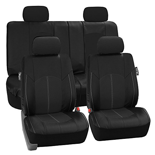 FH Group PU008114 Highest Grade Faux Leather Seat Covers (Black) Full Set – Universal Fit for Cars Trucks & SUVs