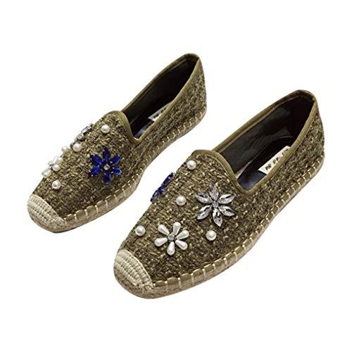 Mujeres Alpargatas Moda Rhinestone con Cuentas decoración Color sólido Costura cáñamo Slip en Baja Parte Superior Lino Inferior Zapatos Planos de señoras Mocasines