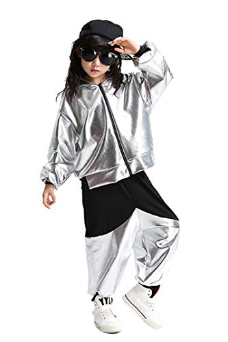 Kinder Hip Hop Tanz Kostüm Shiny Metallic Jazz Street Dance Kleidung Set Kapuzenjacke & Haremshose