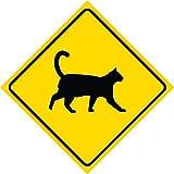 """Schild aus Aluminium mit Warnung """"Achtung! Kreuzende Katzen"""", 30 x 30 cm, quadratisch, gelb"""