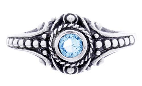 WINDALF Asatru Damen Silberring AMARA h: 0.8 cm Wikinger Schmuck Ring Topaz Kristall Vintage Hochwertiges Silber (Silber, 48 (15.3))