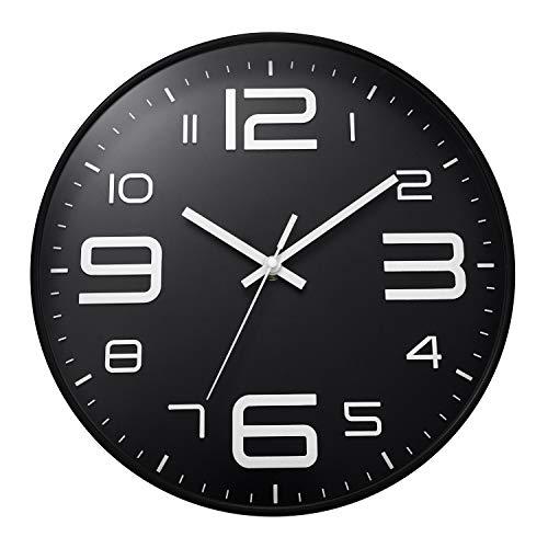 ufengke Reloj de Pared Numeros 3D Industrial Negro Reloj Quartz Silencioso Ultramodernos Pare Salon Comedor, Diámetro 30cm