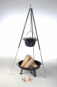 acerto 40207 Bouilloire hongroise en goulasch (10 litres) + Cadre de trépied (180cm) + Bol à feu (55cm) + Bois de Chauffage hêtre   trépied télescopique avec Pot à goulasch, Pot à Soupe