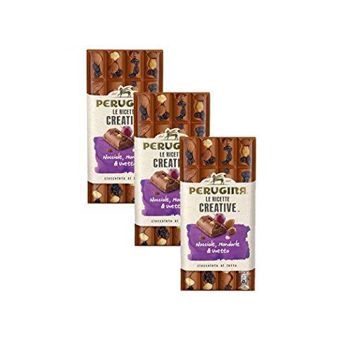 3 Confezioni PERUGINA LE RICETTE CREATIVE Nocciola Mandorle Uvetta tavoletta di cioccolato al latte 195gr