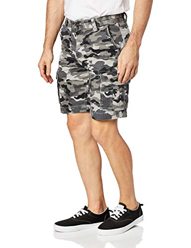 Amazon Essentials Men's Classic-Fit Cargo Short, Grey/Black Camo, 33