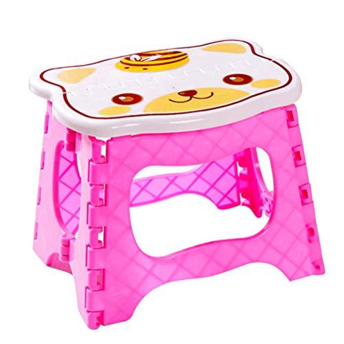 WINOMO Klappbarer Tritthocker aus Kunststoff Anti-Rutsch-Klapphocker für Kinder Zusammenklappbarer Tritthocker im Gemüsegarten-Badezimmer (Katzengesicht mit Rosa Gesicht)