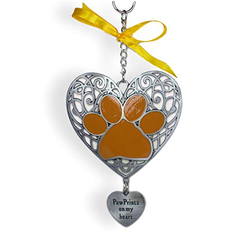 BANBERRY DESIGNS Dog Filigree Christmas Ornament Paw Prints on My Heart 4.25' L