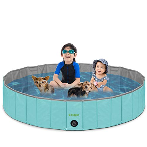 Kundu Round (63' Diameter x 12' Deep) Heavy Duty PVC Outdoor Pets and Kids Pool/Bathing Tub - Portable & Foldable - Extra Large