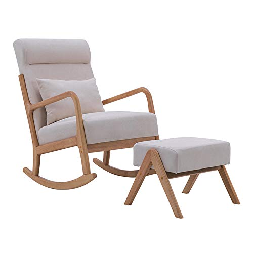 YUYTIN Rocking Chair, Fabric Upholstered Chair Rocker with Sturdy Wood Frame and Padded Seat, Modern Armchair for Living Room,C