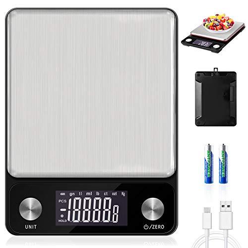MOSUO Digitale Küchenwaage mit USB Aufladen, Digitalwaage 10kg / 1g Elektronische Waage Küchen Haushaltswaage, Briefwaage mit LCD Display, Edelstahl Wiegefläche und Tara, Inkl Batterie