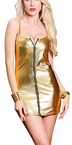 Rozegaga Lingerie feminina sexy de couro sintético com zíper Mini Club Party, Dourado, Medium