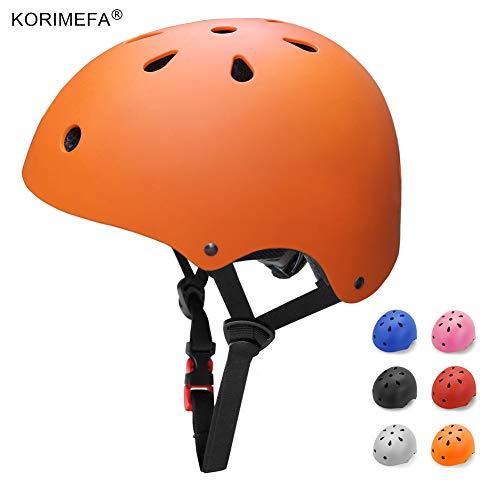 KORIMEFA Adult Bike Helmet Skateboard Helmet Adjustable CPSC Certified Impact Resistance 11 Vents Multi-Sports Helmet for Cycling Scooter Roller Skate Inline Skating Rollerblading, Orange L