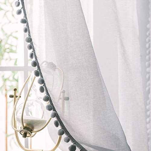 NAMO Semi Sheer Curtains 96 inches Pom Pom Curtains Window Panel for Living, Dining Room,2 Panels 52 x 96 inch