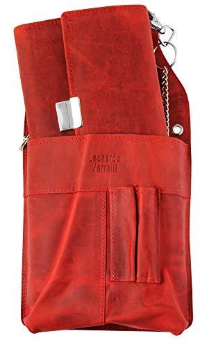 Leonardo Verrelli - Kellnerbörse Echtleder mit oder ohne Kellnertasche und Kette 3000130 (Rot)
