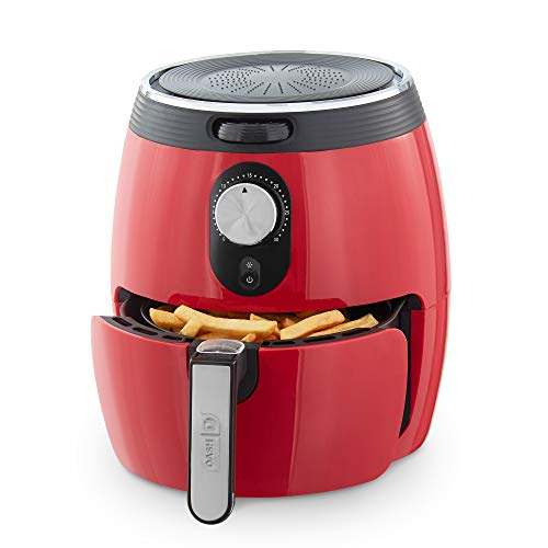DASH DMAF355GBRD02 Deluxe Electric Air Fryer + Oven Cooker with Temperature Control, Non Stick Fry Basket, Recipe Guide + Auto Shut off Feature, 3qt, Red