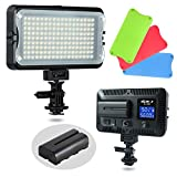 VILTROX VL-162T CRI95+ LED Video Light, Portable Camera Photo Light Panel Dimmable for DSLR Camera Camcorder with Battery, Charger, High Brightness, 3300K-5600K Bi-Color, White Filter and LCD Display