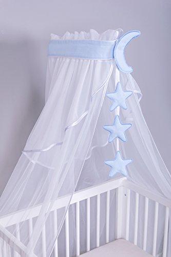 Amilian® Chiffonhimmel Himmel Betthimmel Mond/Sternchen Hellblau (Chiffonhimmel mit Himmelstange)