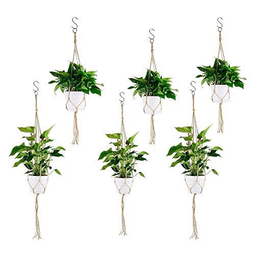 Herefun 6 Piezas Colgador para Plantas Soporte de Macetas, Macramé Plantas Colgador, Macetas de Planta Suspensión para Jardín Plantas Interior Jardín Hogar Decoracion