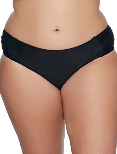 Skye Women's Plus-Size Suri Ruched-Side Hipster Bikini Bottom, So Soft Black, 1X