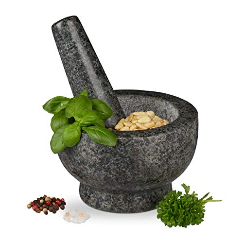 Relaxdays Granit Mörser mit Stößel, robust & langlebig, Gewürze, Kräuter, polierter Steinmörser, Ø 13 cm, 250 ml, grau