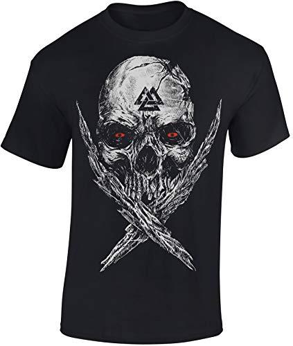 Camiseta: Valknut Skull - Mjolnir Martillo Thor - Vikingo T-Shirt hombre-s y mujer-es - Noruega Norge Norway - Odin Norseman Valhalla Hammer Mjölnir Pagan Metal - Regalo - Viking-s - Vikinga (M)
