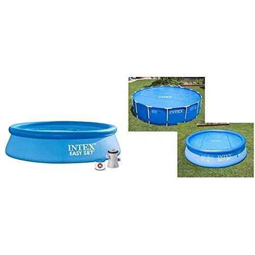 Intex 28122NP Piscina Hinchable, con depuradora, 3853 litros + 29021 - Cobertor Solar para Piscinas 305 cm de diámetro
