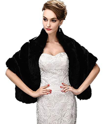 CHITONE Women's Black Faux Fur Wrap Cape Stole Shawl Shrug for...