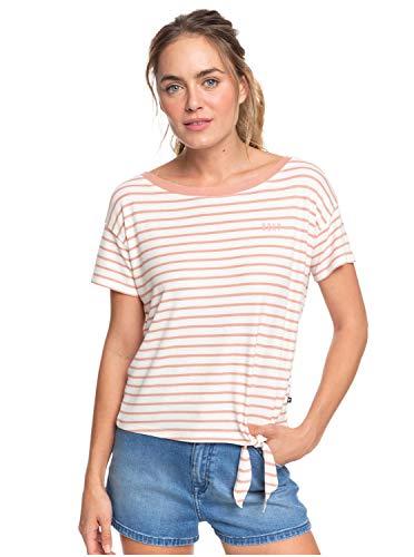 Roxy Wake Up with The Sun - T-Shirt noué sur Le côté pour Femme T-Shirt Femme Cafe Creme Zoupla Horizontal FR : M (Taille Fabricant : M)