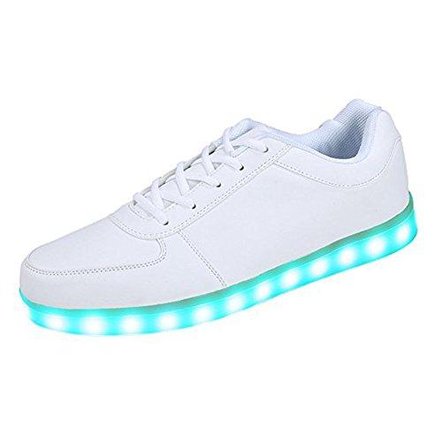 Aimee-Store 7 Farbe USB Aufladen LED Leuchtend Sport Schuhe Sportschuhe Sneaker Turnschuhe für Unisex-Erwachsene Herren Damen Jungen Mädchen(EU 39,Weiß)