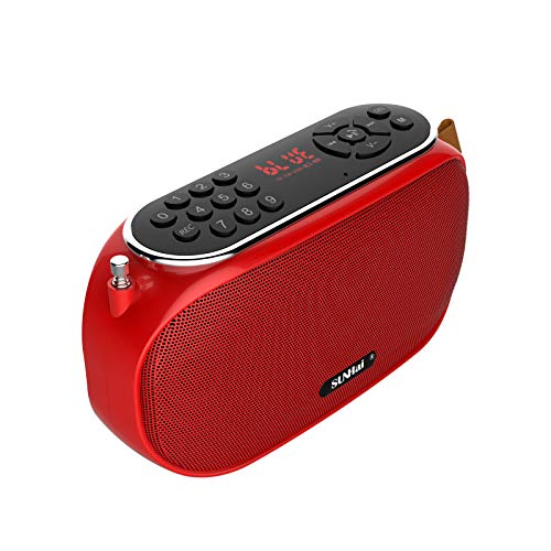 SUNhai Bluetooth Speaker Portable Wireless Radio Desktop Speaker J19 with HD Sound,FM,TF,USB Player,USB Charge,AUX Input,Built-in Microphone,Aux Cable,Support Hands-Free Call for Outdoors,Party-Red…