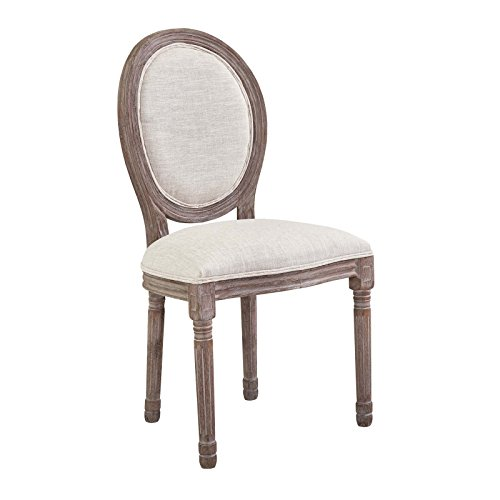 Modway Emanate French Vintage Upholstered Fabric Dining Side Chair in Beige