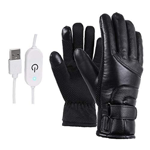 XKJFZ Negro calienta Guantes de Invierno eléctrico Manoplas térmicas USB con Pantalla...