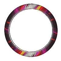 森の小屋 3D digital flow mixed paint pattern 革ハンドルカバー ハンドルカバー 37.5cmと38cmのミディアムハンドル 快適なハンドルカバー 中等尺寸方向盘
