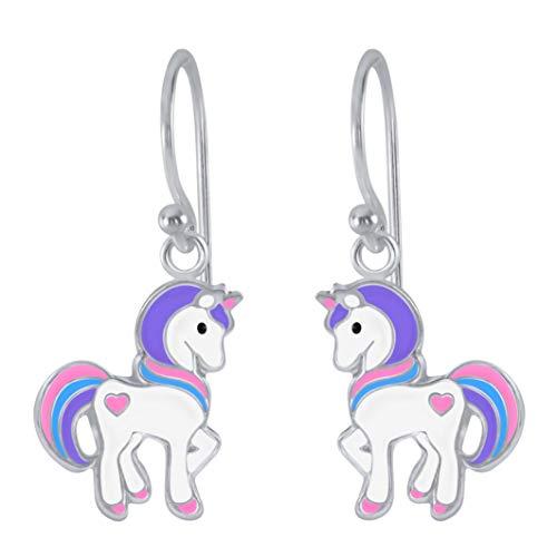 Pendientes colgantes de plata de ley con diseño de corazón y unicornio