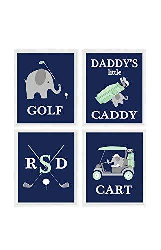 NNNNOOO Éléphant Golf Nursery, Décoration Murale de Golf, Petite Caddie de Papa, Art Mural personnalisé, Vert Menthe, Bleu Marine, Gris, pépinière de Golf, bébé garçon Golf