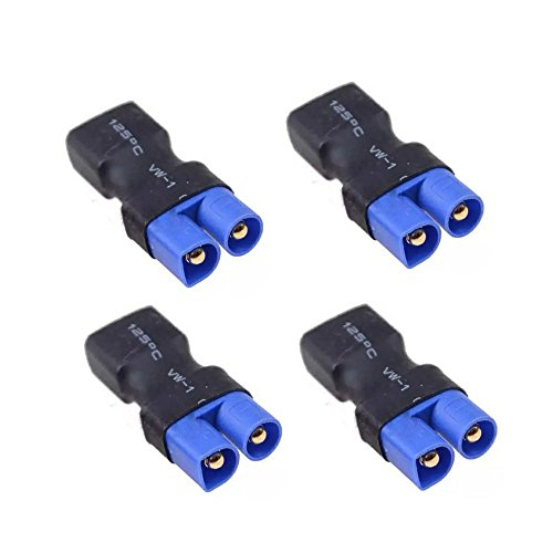 FLY RC 4 Pcs Deans Style T Female Plug -> EC3 Male Connector Plug Adapter for Lipo Battery