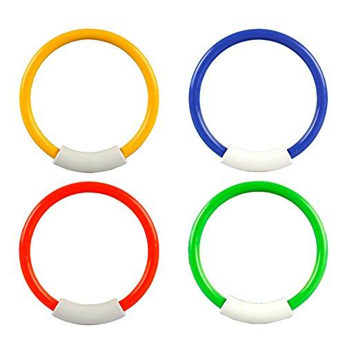 MansWill 4 x Kinder Tauchringe Pool Spielzeug, Kinder Sicher Wasser Schwimmen Spiel-Set, 4 Farben und Stand aufrecht Unterwasser, Alter 3 und Höher