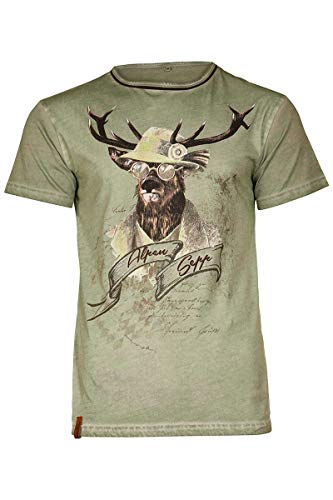 MarJo Herren Herren Trachten T-Shirt Alpen Sepp Oliv, Oliv, XXL