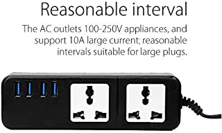 ROCKETKART Smart Power Strip Sockets Overload Switch Surge Protector USB Charger Multi Plug Extension with Superior Surge Protection & 4 USB Slots for Quick, Fast Turbo Charging Universal Travel