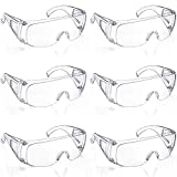 6 Packs Protective Polycarbonate Eyewear Clear Safety Goggles Anti-Fog Glasses with Impact Resistant
