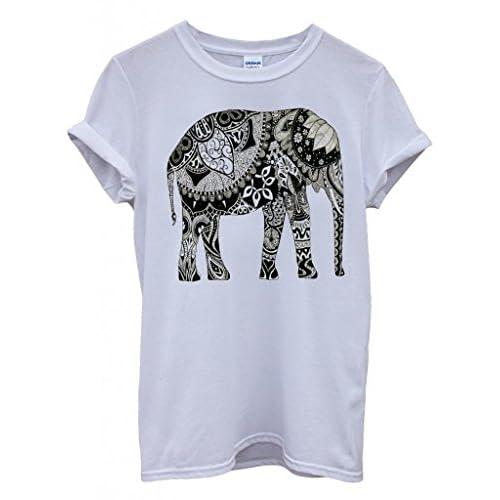 fb4600efd3e2 Elephant Drawing Ethnic Pattern Art Funny Hipster Swag White Men Women  Unisex Top T-Shirt