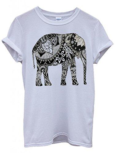 Perky Fashion Elephant Drawing Ethnic Pattern Art Funny Hipster Swag White Blanc Femme Homme Men Women Unisex Top T-Shirt -Large