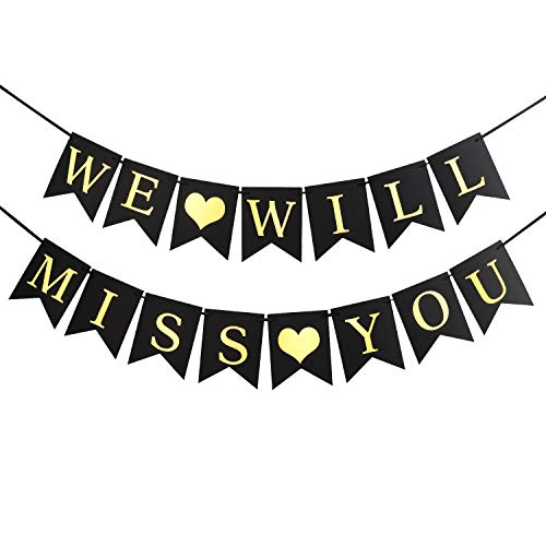 Luxiocio We Will Miss You Banner Sign, Farewell Party Decorations, Gold Glitter Retirement Party Office Work Party Going Away Party Decorations Supplies