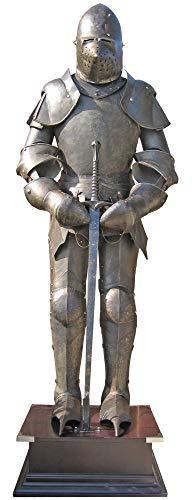 Ritterheim - Armatura autentica scura da cavaliere con spada, 185 cm